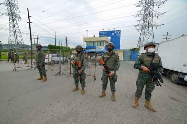 Members of the Ecuadorian Marine Force guard the Zone 8 Deprivation of Liberty Center in Guayaquil, Ecuador.